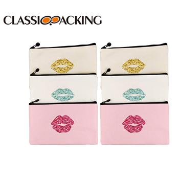 Canvas Lip Makeup Bag Bulk
