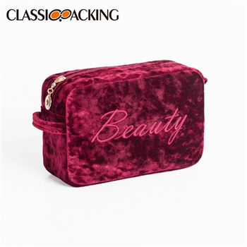 Velvet Embroidered Cosmetic Bag