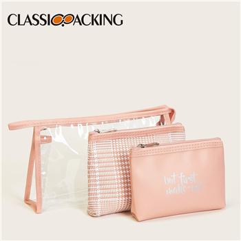 Letter & Plaid Makeup Bag Set 3pack