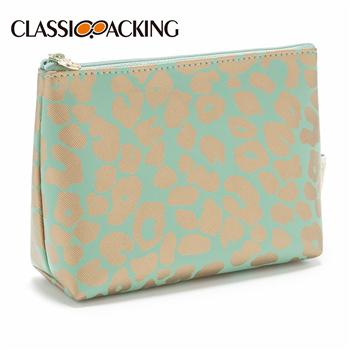 Small Makeup Bag in Jade Leopard Print