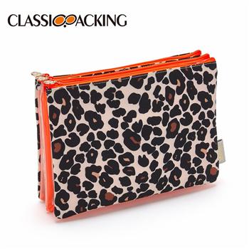 3 in 1 Bulk Clear Cosmetic Bags in Leopard Tan