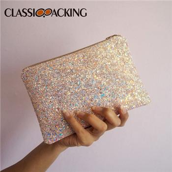 Pink Iridescent Glitter Makeup Bag