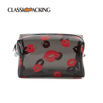 Lip Print Clear Makeup Bags Bulk
