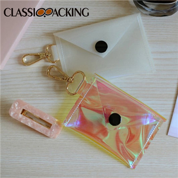 Holographic Vinyl Card and Coin Pouch | Milky White Glitter Key Chain Coin Purse