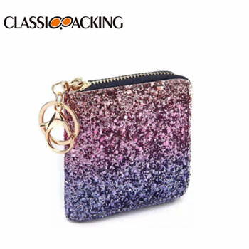 Glitter Coin Purse Bulk for Women with Key Ring