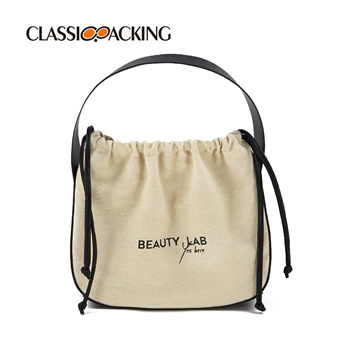 Canvas Cosmetic Bag with Drawstring