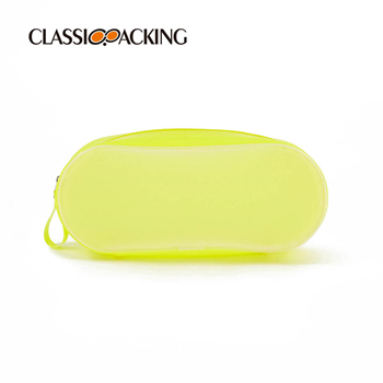 Fluorescence Yellow Frosted Transparent Bulk Custom Toiletry Bags