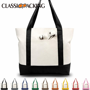 Stylish Canvas Shopping Bag with an External Pocket