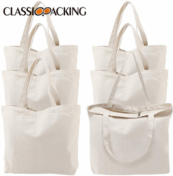 Canvas Shopping Bags with Zipper