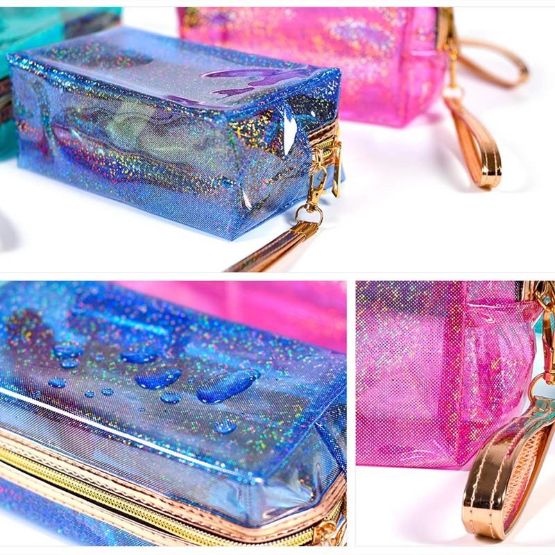 holographic travel makeup bag