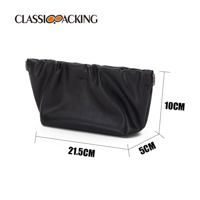 Black Boat Shape PU Makeup Hand Bag